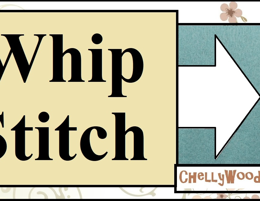 "The image shows an enlarged whip stitch along the edge of a felt swatch which has been whip stitched onto cotton fabric. The whipstitch pattern is at a slight angle, and it uses red yarn to connect the two swatches (the cotton and the felt) to one another. Overlay states, ""Whip Stitch"" as this is the YouTube header for a tutorial video showing how to make a whip stitch using embroidery floss. This tutorial shows the stitching-by-hand method. It also tells the name of the blog where this instructional youtube whip stitch tutorial video can be found: ChellyWood.com."