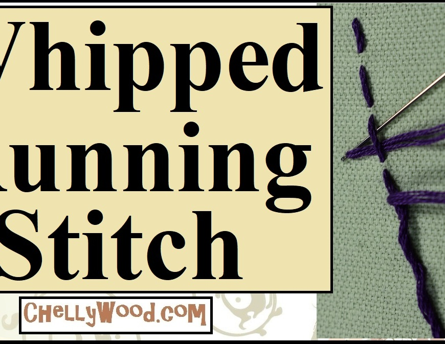 "The image shows a close-up of the whipped running stitch (an embroidery stitch used for decoration). It also has the heading, ""Whipped Running Stitch"" but it should also be noted that this embroidery stitch is sometimes called the ""cordonnet stitch"". This is a header for a youtube tutorial video showing how to do the cordonnet stitch (how to do a whipped running stitch). The image also shows the website where more embroidery tutorials like this one can be found: ChellyWood.com."