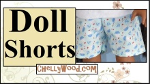 "This image shows the cover page for a YouTube tutorial that demonstrates how to sew a pair of shorts to fit most 18-inch or 46 cm dolls, like American Girl dolls, Madame Alexander dolls, vintage Crissy dolls, Journey Girls, and a number of other 18-inch or 46 centimeter dolls. The image shows the doll's hip area. She wears a pair of hand-made shorts with a nautical print theme that is dotted with images of anchors and sailboats and tiny red fish. The headline reads simply, ""Doll shorts"" and offers the URL ChellyWood.com, which is where you can find the free printable sewing pattern for making these doll shorts."