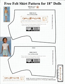 """This image is a lined paper pattern for the basic bodice shape designed to fit 28-inch dolls like the new 28-inch Barbie, also called Just Play Barbie or Barbie Fashion Friend. Along with this free printable doll clothes pattern, there's a youtube tutorial video showing how to make this very basic shirt from felt. The pattern is marked with a """"Creative Commons Attribution"""" symbol, and it is watermarked with ChellyWood.com, the website where it was first posted. If you choose to use this pattern, please honor its creative commons attribution mark by letting others know where you found this pattern. The pattern is free, printable, and very easy to make, suitable for beginners and those who are new to sewing. It is marked with a measurement tool and has images of the doll wearing a handmade felt shirt made with this pattern. The pattern doesn't include darts or other shaping tools, as it's just a very basic shirt pattern for 28"""" dolls."""