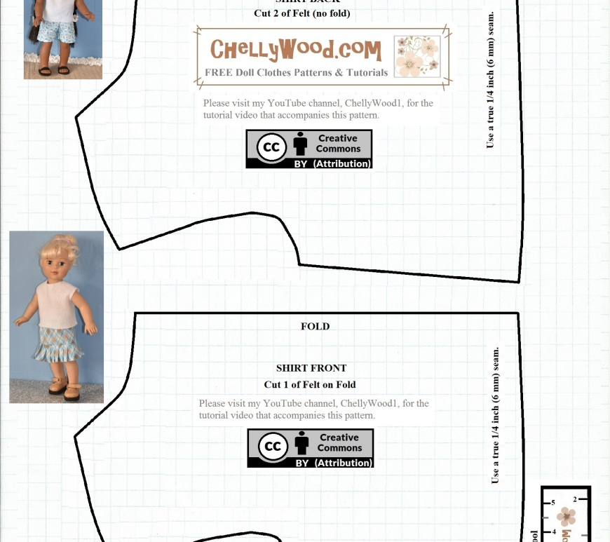 "The image shows a free printable sewing pattern for a very basic easy-to-sew pattern for a felt shirt that's designed to fit 18-inch dolls (46 cm dolls) like American Girl dolls, Madame Alexander dolls, Journey Girls, and many similar-sized dolls. On the pattern itself, it shows Kaya, the 18-inch AG doll, wearing a pair of nautical-style summer shorts and a felt shirt, both of which were handmade using patterns from ChellyWood.com. This pattern was also used to make the felt shirt shown on a 46 cm Madame Alexander doll which is pictured with the pattern. This pattern comes with a measurement tool, to make sure you're printing it correctly. It also has a free tutorial video showing how to sew it together. This pattern is ideal for beginners and children who are new to sewing. It's a very easy pattern to follow. It has been marked with ""Creative Commons Attribution"" which means you're allowed to use the pattern, but please let people know where you got this pattern. Share the pattern on social media with a link to the website where you found it. The image is also watermarked ""ChellyWood.com: free printable patterns and tutorials"" for making dolls' clothes."