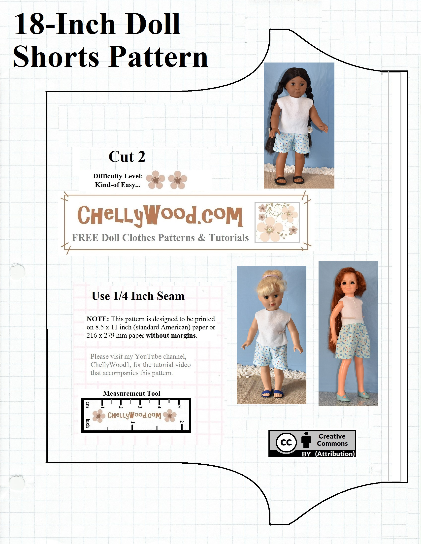 picture regarding 18 Inch Doll Clothes Patterns Free Printable called Sew shorts for your 18-inch #dolls w/this free of charge #sewing