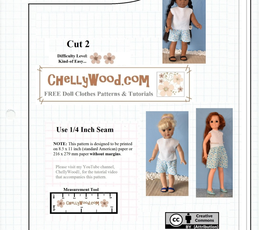 "The image shows a free pattern for a pair of doll shorts. The title on the shorts pattern says, ""Free 18-inch dolls' Shorts Pattern"" and it offers instructions for how to print the pattern, what seam allowances to use, and where to hem the garment. The header that accompanies this doll shorts pattern offers the dolls that can easily fit into this shorts pattern, stating, ""Free Printable Shorts Pattern for 18-inch Dolls Like American Girl Doll, Vintage Crissy Dolls, and 18"" Madame Alexander Dolls."" These three dolls are pictured wearing the hand-made shorts, which use a pattern showing tiny nautical prints of anchors and little sailboats. The watermark on this free printable doll shorts pattern says, ""ChellyWood.com: free patterns and tutorials."" the pattern also displays the ""Creative commons attribution"" symbol, meaning that anyone is allowed to use this pattern for their own creative projects, but they must also mention that they got the pattern here, on ChellyWood.com."