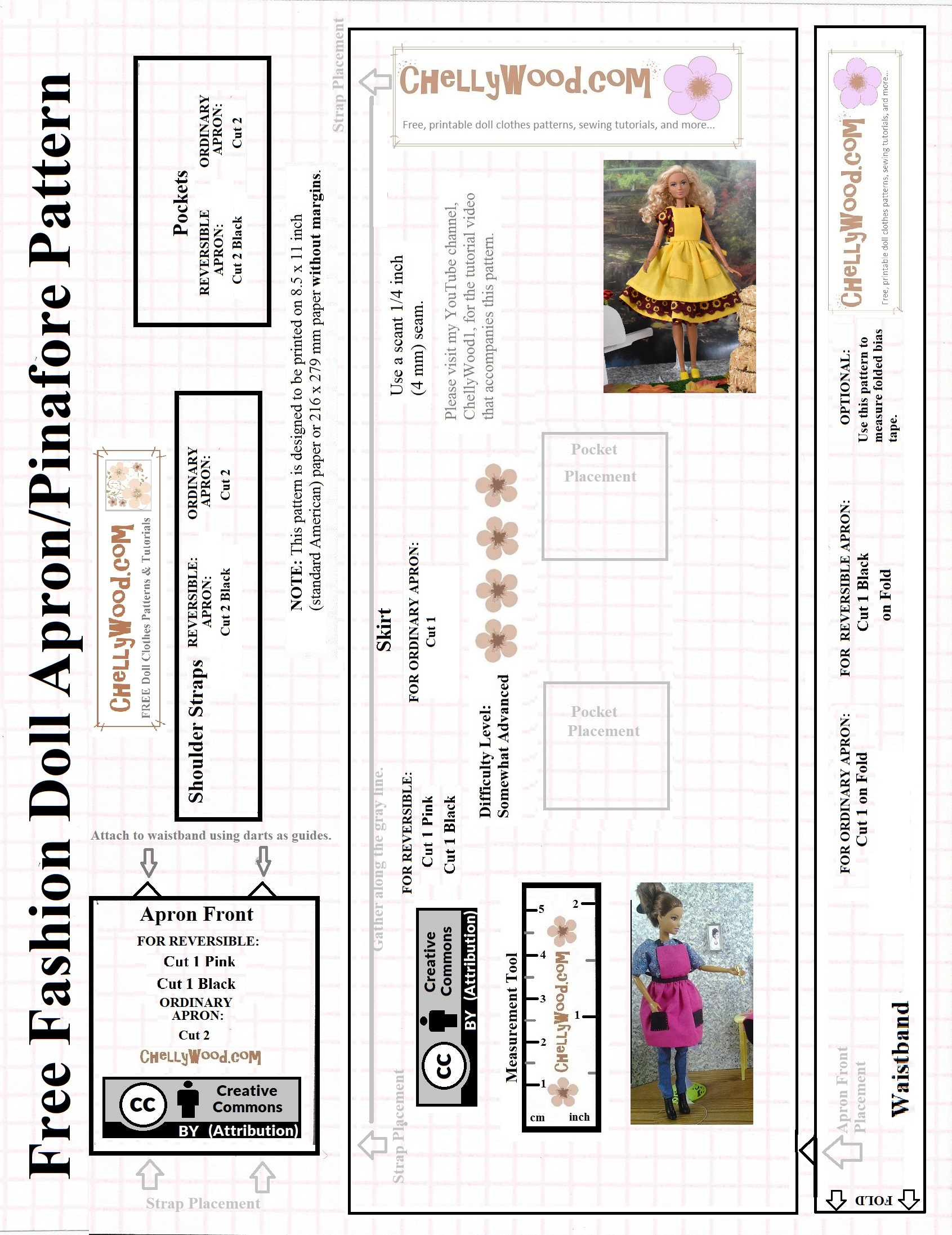picture regarding Free Printable Apron Patterns named Absolutely free Printable Sewing Routine for a Model Doll Apron