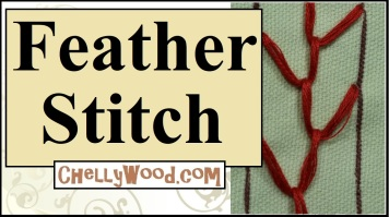 "Please visit ChellyWood.com for FREE printable sewing patterns for dolls of many shapes and sizes. This free tutorial video shows you how to do a basic feather stitch when embroidering by hand. The image shows the feather stitch as red thread on a light green background. The title says, ""Feather stitch"" and offers the website, ChellyWood.com, where you can view free tutorials on many embroidery stitches including the feather stitch, whipstitch, backstitch, and many others. His hand embroidery tutorial specifically addresses how to make the feather stitch when doing embroidery."