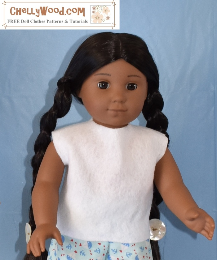 """Image shows Kaya an American Girl 18-inch doll wearing an easy-to-sew felt shirt made using a free pattern which is downloadable at ChellyWood.com. The doll stands in front of a blue background with her arms outstretched in a welcoming manner. Her expression is content. The overlay says: """"ChellyWood.com"""" and offers the explanation that this website offers """"free doll clothes patterns and tutorials."""" The page where this image is found says """"later this week I'll be posting the free printable sewing pattern and tutorial to help you make this easy-to-sew felt shirt that will fit most 18-inch dolls like American Girl dolls and Madame Alexander dolls."""""""