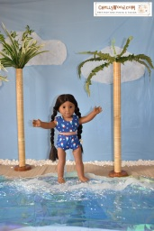 Please click on the following link to find all the tutorials and patterns you'll need to make the swimsuit shown in this image: https://chellywood.com/2018/09/05/todays-tutorial-shows-how-to-make-a-dolls-swimsuit-top-chellywood-com-w-free-patterns/