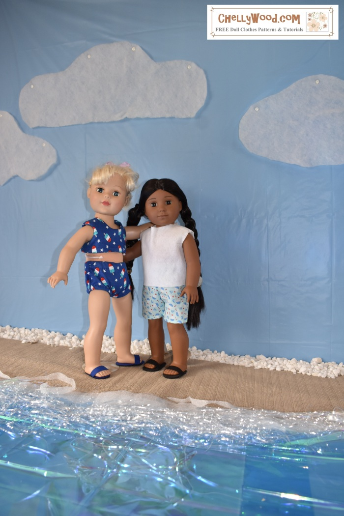 "The image shows Kaya, the American Girl 18-inch doll, standing on a beach with an 18 inch Madame Alexander doll. They wear summer clothes that are hand-made, include shorts, a sleeveless summer top, and a bikini. Each doll also sports a pair of hand-made slip-on sandals. There's a watermark in the corner of the photo which says ""ChellyWood.com: free doll clothes patterns and tutorials."""