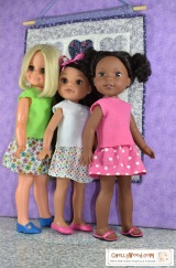 Free printable sewing patterns for 14-inch, 15-inch, and 16-inch dolls @ ChellyWood.com