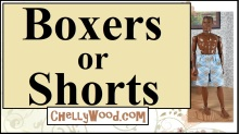 The image is a header for a youtube tutorial showing how to make a pair of boxer shorts or summer shorts to fit GI Joe, broad Ken dolls, or other bigger-bodied action figures. The YouTube tutorial also says that free patterns are included with the youtube video diy tutorial showing how to make these boxers or shorts. The overlay on the image offers the URL of the website where more free patterns and tutorials can be found: ChellyWood.com