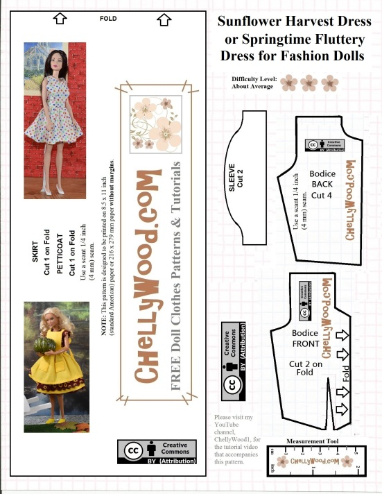 """The image shows a free printable dress pattern for a basic dress, which can be made into a """"fluttery"""" holiday dress, great for birthday gifts, Christmas, Halloween, Easter, or other holidays. The dress pattern fits Mattel's Barbie, Mattel's Midge, and most other fashion dolls in the 11.5 inch (i.e. typical Barbie) size range. This dress can be made with or without sleeves. Free tutorial videos show how to make this dress for Barbie-sized dolls in the sleeveless or cap sleeve methods. This free printable pattern for a Barbie-sized dress is watermarked with the website ChellyWood.com and has been marked with """"Creative Commons Attribution"""" for public use."""
