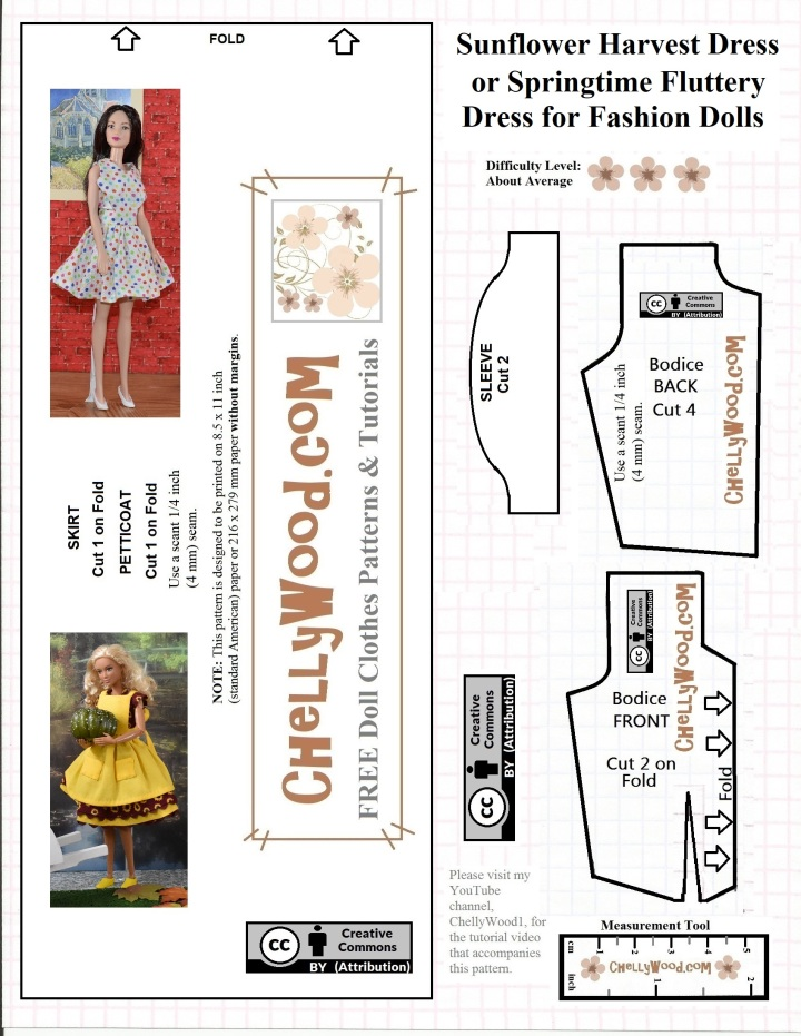 "The image shows a free printable dress pattern for a basic dress, which can be made into a ""fluttery"" holiday dress, great for birthday gifts, Christmas, Halloween, Easter, or other holidays. The dress pattern fits Mattel's Barbie, Mattel's Midge, and most other fashion dolls in the 11.5 inch (i.e. typical Barbie) size range. This dress can be made with or without sleeves. Free tutorial videos show how to make this dress for Barbie-sized dolls in the sleeveless or cap sleeve methods. This free printable pattern for a Barbie-sized dress is watermarked with the website ChellyWood.com and has been marked with ""Creative Commons Attribution"" for public use."