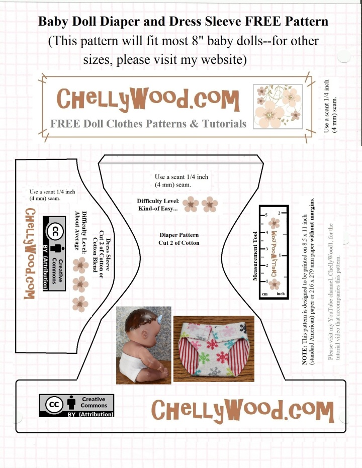 Please visit ChellyWood.com for FREE printable sewing patterns to fit dolls of many shapes and sizes. The image shows a printable free pattern for baby doll diapers or nappies. This free doll clothes pattern is easy to download and print at ChellyWood.com where you can also find free tutorial youtube videos showing how to make these diy dolly diapers for your doll's diaper bag or nappy carry-all. The image shows the website ChellyWood.com where this free diaper / nappy pattern is downloadable and printable.