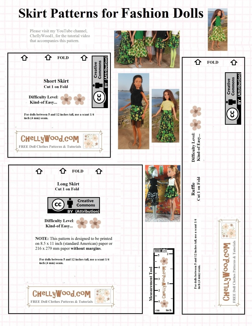 "Please visit ChellyWood.com for FREE printable sewing patterns for dolls of many shapes and sizes. This image shows three different patterns for use in making Barbie-sized (11.5-inch fashion doll) skirts in a variety of styles. The free sewing pattern offers the URL ChellyWood.com, where tutorials offer free instruction for sewing these Barbie-sized dolls' skirts. The pattern is marked with a ""creative commons attribution"" symbol as well."