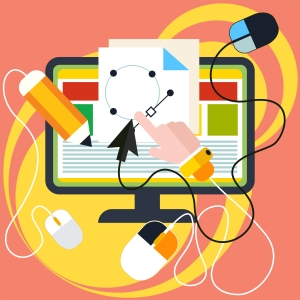 Please excuse the mess while my website, ChellyWood.com, is under construction. The image shows a jumble of electrical cords attached to a computer screen that offers some sort of paper pattern like the paper doll clothes patterns that followers of ChellyWood.com can print and download for sewing projects.