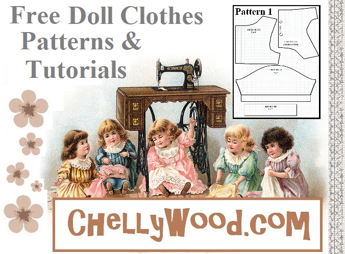 The image shows a swirling cluster of vines which are actually part of a wedding dress image from iClipart. At the bottom of the image is the website URL and company logo for ChellyWood.com, a website that offers free, printable sewing patterns and tutorial videos that show you how to make doll clothes to fit dolls of many shapes and sizes including but not limited various sizes of Barbie dolls, American Girl dolls, and more. The doll clothes patterns are free and printable, easy to find, and easy to sew even for beginners and children.