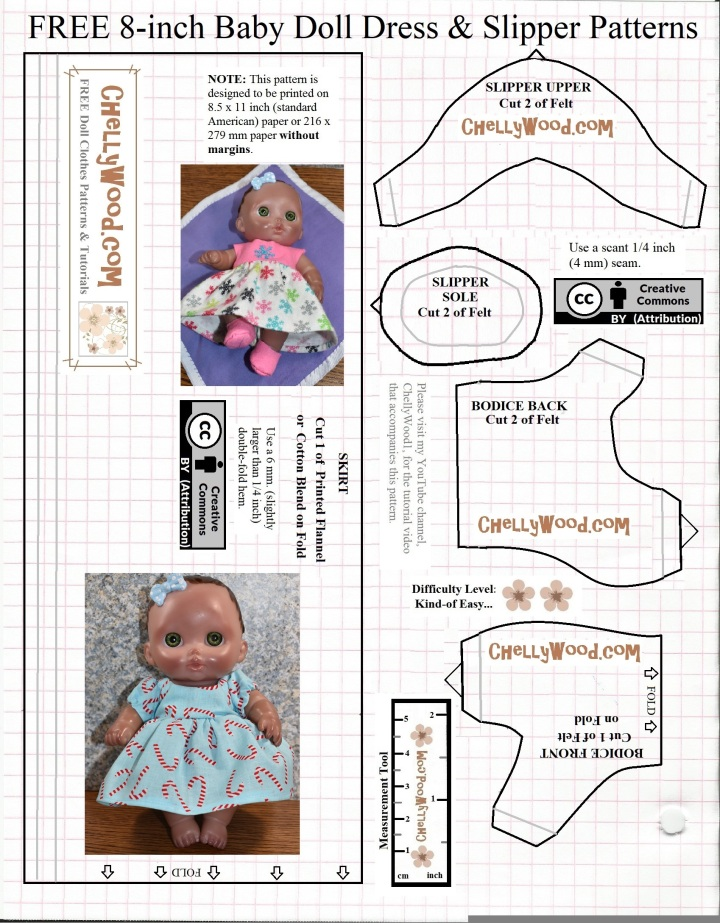 9e0988d7dbd6 Free 8-inch Baby  Doll s dress  patterns to sew for  Christmas ...