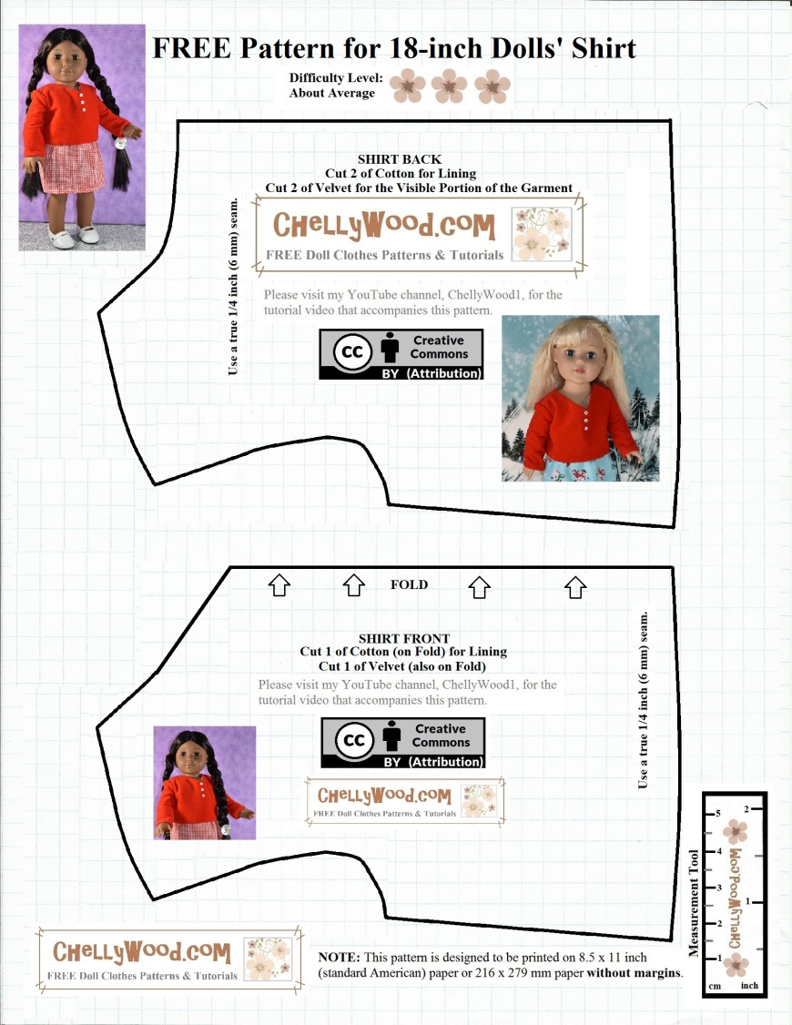 "The image shows a simple pattern for the bodice of a shirt for 18-inch dolls like the American Girl dolls, Madame Alexander 18"" dolls, and Journey Girls 18 inch dolls. This pattern is free, printable, and comes with an instructional tutorial video showing how to sew the pattern. The watermark on the pattern is ChellyWood.com and the pattern also has a creative commons ""attribution"" mark."