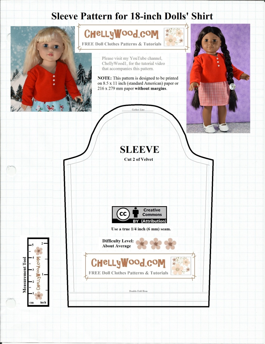 "The image shows a single sleeve pattern for a v-neck sweater made of velvet, designed to fit 18"" dolls like American Girls, Journey Girls, and Madame Alexander dolls. This sleeve is part of a 2-piece free doll clothes pattern for a shirt with long sleeves. Visit ChellyWood.com for the rest of this free printable sewing pattern."