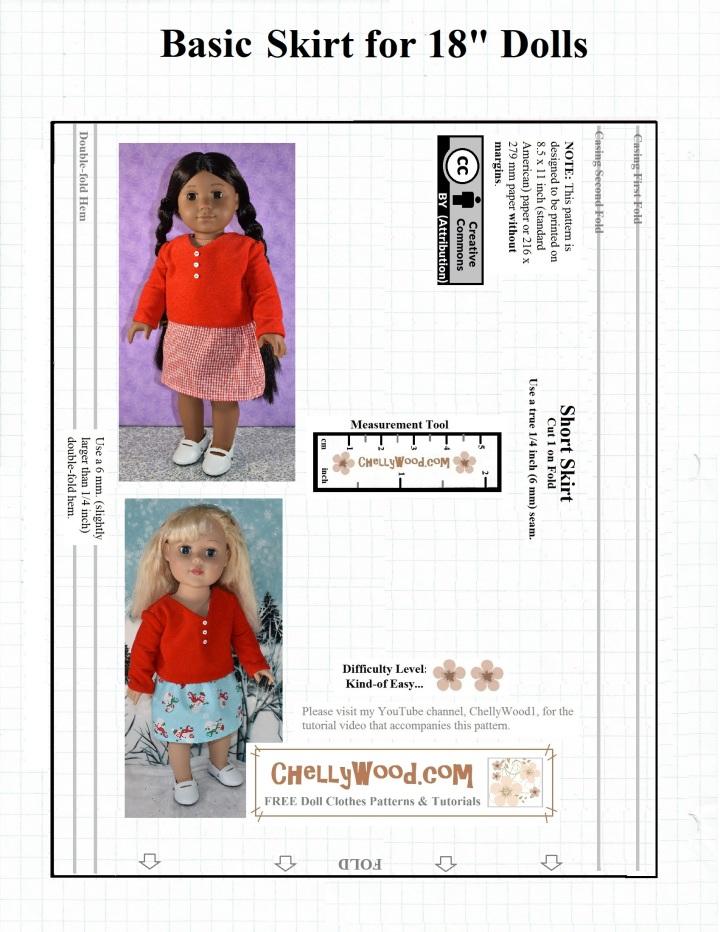Basic 18 Inch Doll Skirt Pattern