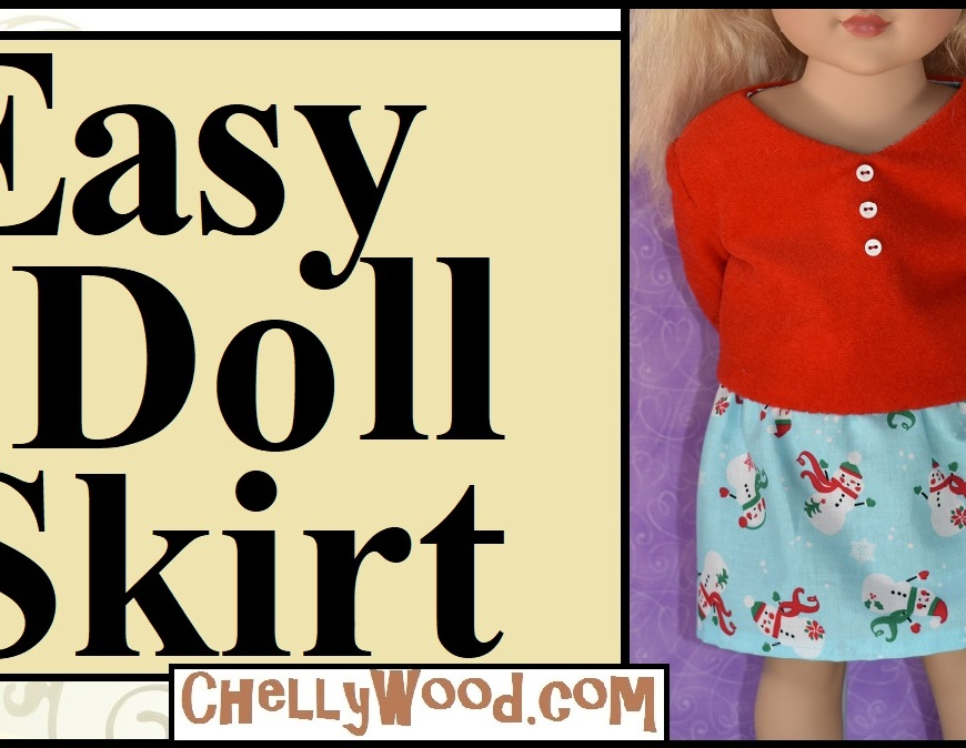 Sew an easy skirt for 18 inch dolls with free pattern from Chelly Wood