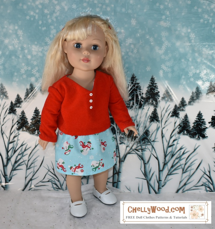 """The image shows an 18 inch Madame Alexander doll (similar in size to the 18 inch American Girl dolls) wearing a handmade skirt of holiday print. She also wears a hand-sewn velvet top (shirt) with long sleeves and a v-neck collar. These 18 inch doll clothes are very easy to sew with free patterns from the website ChellyWood.com. Sewing patterns at ChellyWood.com focus on doll clothes and doll crafts for dolls of many shapes and sizes, including the 18"""" dolls like American Girl doll and Madame Alexander doll. The image shows the 18"""" doll modeling the free doll clothes patterns in a snowy scene with winter trees and brush behind her, snow at her feet, and overhead, the wintery sky has snowflakes falling all around. The little skirt she wears (the one that goes with the free pattern for 18 inch dolls) uses an elastic waist, and ChellyWood.com not only offers the free patterns for making the whole outfit for 18"""" dolls, but it also offers free tutorial videos showing how to sew these simple garments. The image has a watermark that says """"ChellyWood.com: free printable patterns and tutorials."""""""