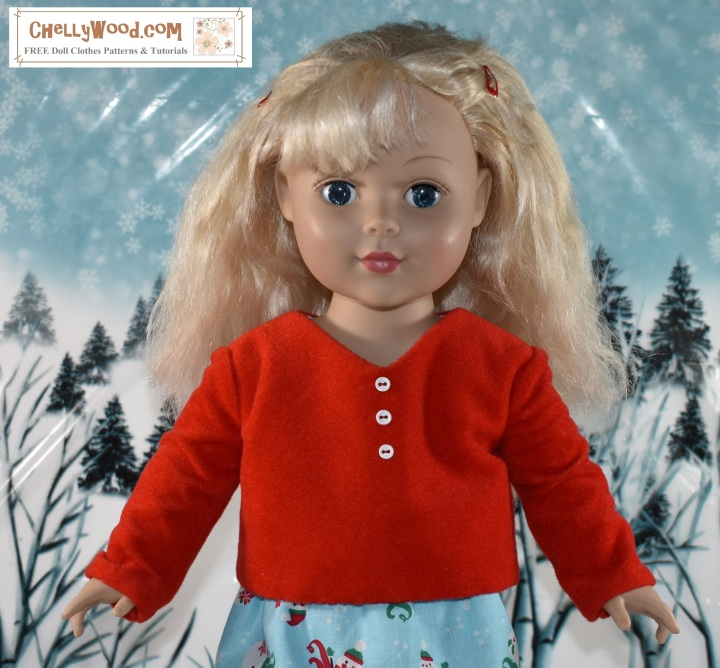 """The image shows a Madame Alexander doll wearing a hand-made long-sleeved shirt with buttons in the front and snaps in the back. This doll shirt fits most 18"""" dolls, including the American girl dolls and the 18-inch Madame Alexander dolls among others. The shirt is made of velvet but can be sewn using other fabrics as well. The overlay says, """"ChellyWood.com: free patterns and tutorials""""."""