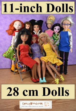 The image shows a photo of the following dolls: Liv dolls, Curvy Barbie dolls, Made to Move Barbie dolls, Monster high dolls, vintage Francie dolls, Project MC2 dolls, and two different sizes of Disney princess dolls. The overlay suggests that on this page, you will find links to patterns for all of these dolls and any others that fall into the 11-inch to 11.5 inch doll range. In metric terms, that includes 27 cm, 28 cm, and 29 cm dolls.