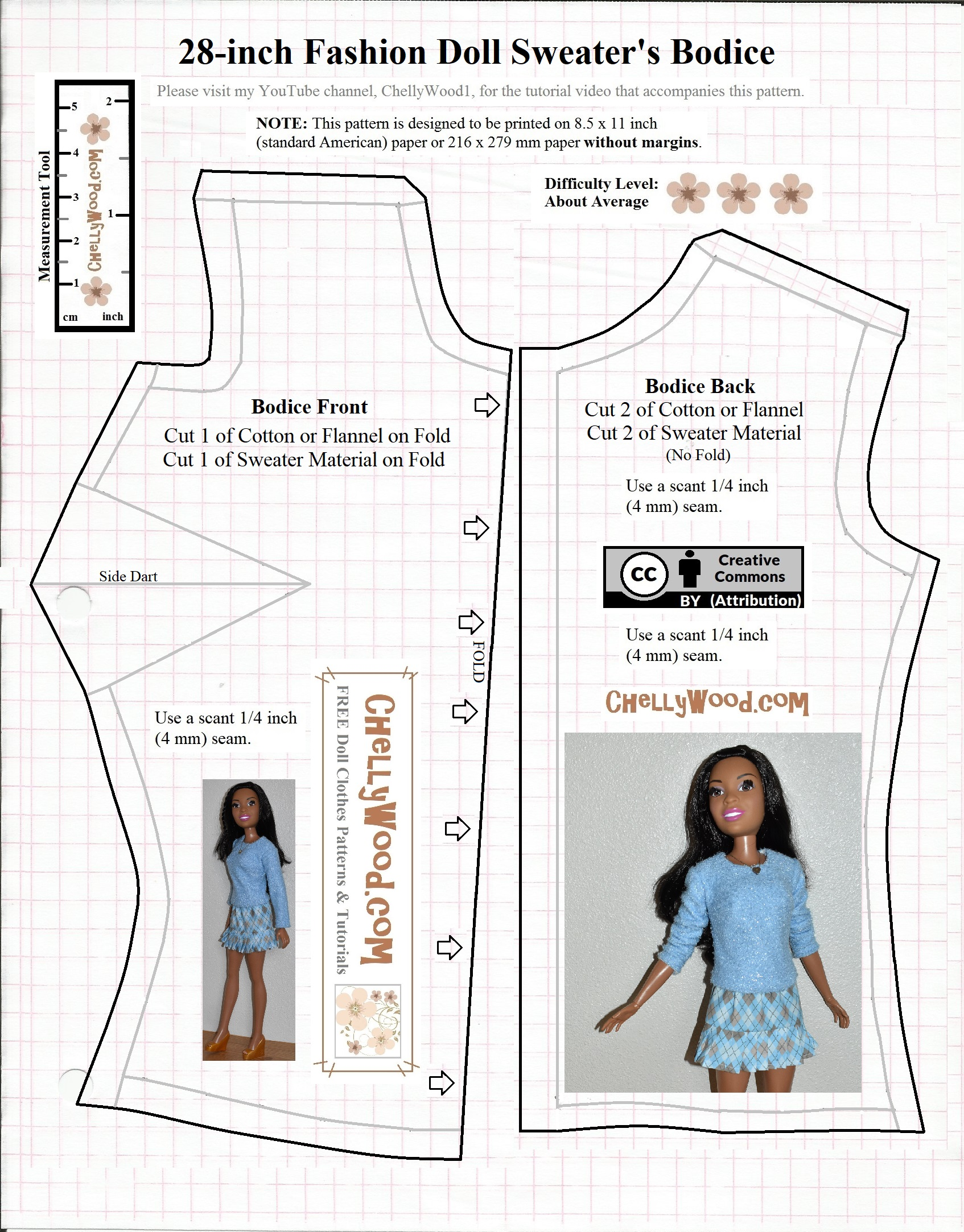 image relating to Barbie Dress Patterns Free Printable Pdf identified as PDFpattern Wednesday: obtain a cost-free sweater / jumper