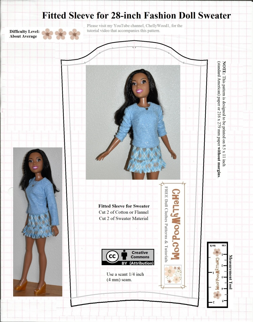 This image shows the pattern for a fitted sleeve which could be used to sew a sweater or long-sleeve shirt to fit 28 inch dolls like Mattel's Best Fashion Friend Barbie doll.