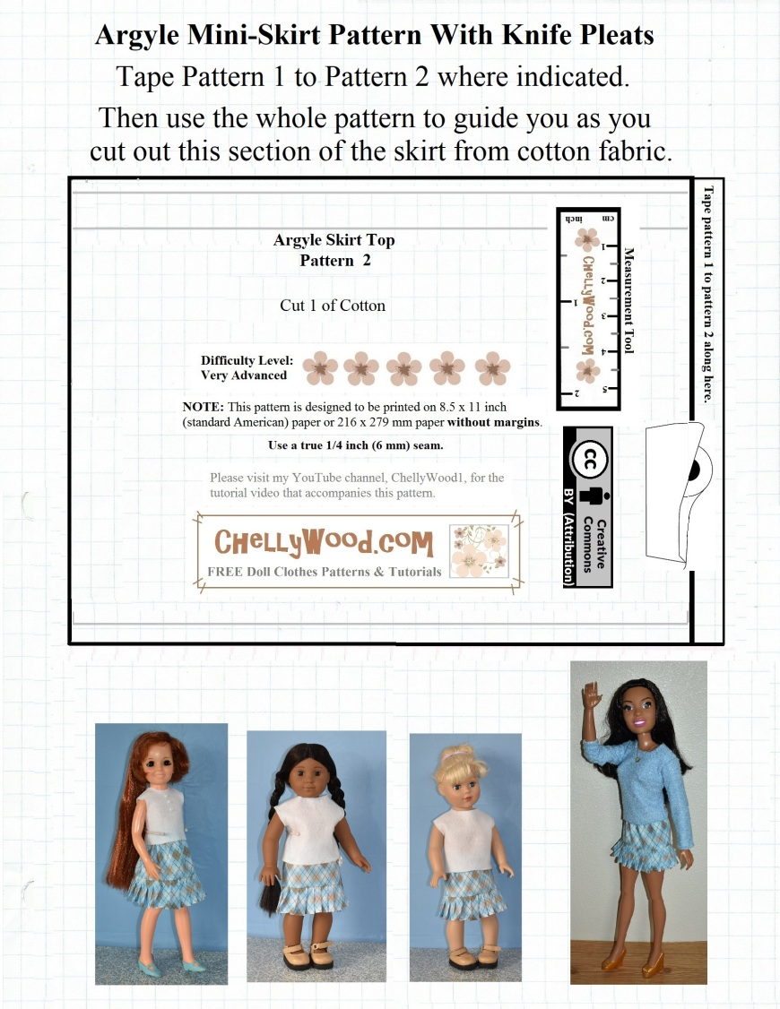 Image shows the top section of a knife-pleat skirt for 28 inch Barbie dolls. On the pattern it also shows Crissy dolls, American Girl dolls, and 18 inch Madame Alexander dolls wearing the same argyle skirt with knife pleats that was made using this pattern.