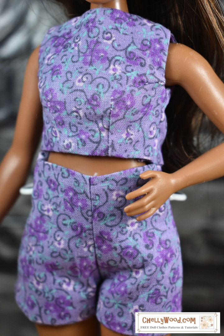 The image shows a curvy doll from Mattel's fashionista line wearing handmade doll summer clothes made specifically to fit Mattel's Curvy doll figures. The blog post offers measurements to help you sew for Curvy Barbie dolls.