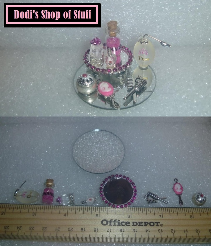 The image shows tiny collectibles made by artisan Dodi for her eBay store, Dodi's Shop of Stuff, which offers lots of little goodies for Barbie collectors and people who enjoy building dioramas in 1:6 scale. This image was posted on ChellyWood.com, on Friday, January 11, 2019 at 9:00 AM, as part of the #fridayfollow hashtag. ChellyWood.com is a website offering free printable sewing patterns for dolls of many shapes and sizes.