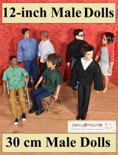 The image shows male dolls in the 11.75 inch or 12 inch size range mingling in a brick room. All of the male dolls wear handmade doll clothes. The Mattel Ryan doll wears a tux as if he's headed to a wedding. Jake (from Spin Master Liv dolls) wears jeans and a forest green shirt, as if he works for the US Forest Service. He's seated next to Texas A & M Black Ken, who wears a green short-sleeve shirt with mustard yellow pants--colors that would be great for a Kwanzaa celebration. Behind him stands a GI Joe of the taller variety wearing a blue denim collared shirt with blue dungarees. He's talking to a 198's Ken doll (more muscular than modern Ken and Modern Ryan), and this 1980's ken wears handmade trousers with a button-up long-sleeve shirt. Behind him stands broad Ken in a turtleneck sweater and pajama pants. He's speaking to a male doll from the Ever After High collection called Hunter Huntsman. Hunter is wearing hand made boxer shorts and a raglan sleeve jersey tee shirt. The overlay gives the name of the website where you can download free printable sewing patterns for all of these 12 inch male dolls: ChellyWood.com