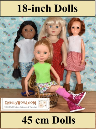 The image shows the following 18 inch dolls wearing handmade doll clothes: (from left to right) the Kaya doll from American Girl, a Madame Alexander doll, Crissy doll, and BFC Ink doll (best friends club dolls). This image links visitors to pages that offer free doll clothes sewing patterns for each of the dolls pictured. The overlay offers the url of the doll clothing designer, ChellyWood.com, where you can find free, printable sewing patterns for these and many other dolls of different shapes and sizes.