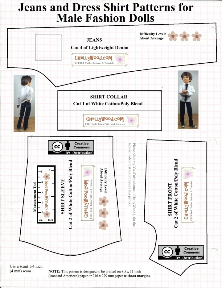 This is a printable pattern for male fashion dolls' shirts with a collar and jeans. It will fit a slender Ken doll or Spin Master Jake dolls or Hunter Huntsman or other male dolls from the Ever After High collection. The pattern shows an image of Spin Master Jake wearing the jeans and shirt. This is half of the complete pattern. The other page includes the pattern for a tie and the rest of the shirt pattern.