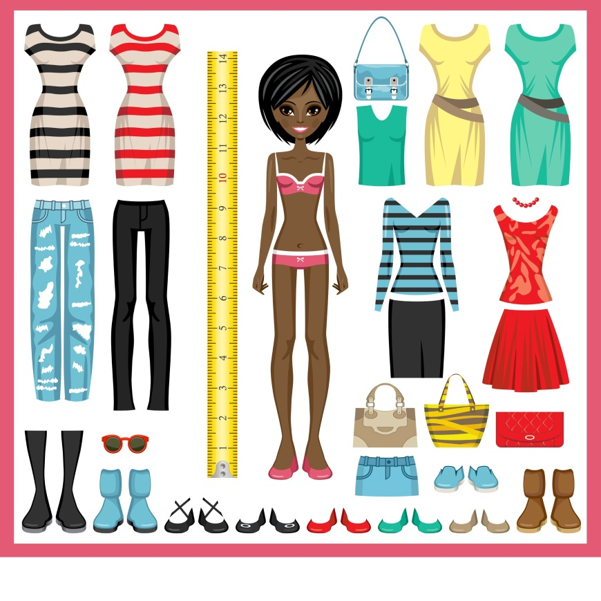 The image shows an African American or African doll wearing her underpants and bra. All around her are images of outfits someone has made for her. She stands next to a tape measure.