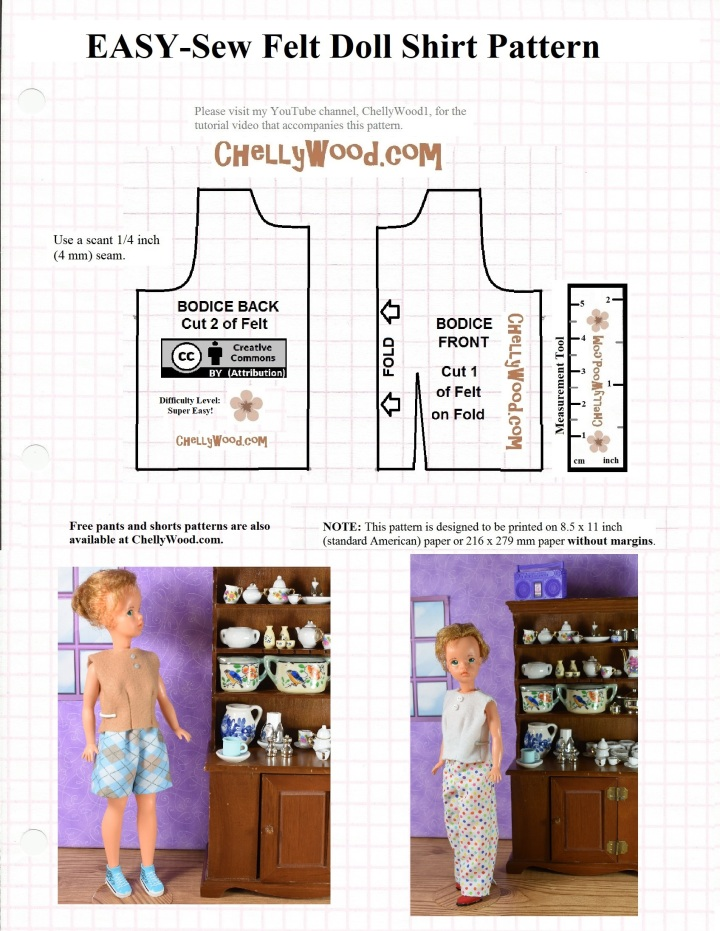 The image shows a PDF pattern for a simple tank top-style shirt for Tammy dolls (Ideal Toy Corporation). This free, printable sewing pattern for Tammy doll clothes was created by Chelly Wood, the doll clothes designer at ChellyWood.com, using the Creative Commons Attribution mark. Please show your appreciation for this free printable pdf or MS word pattern by sharing it on social media and notifying your followers where you found this pattern.