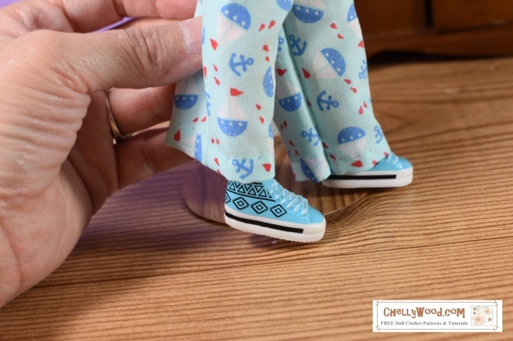 The image shows the feet of Ideal Toy Corp's Tammy doll wearing shoes belonging to the Project MC2 dolls. These two dolls and swap shoes.