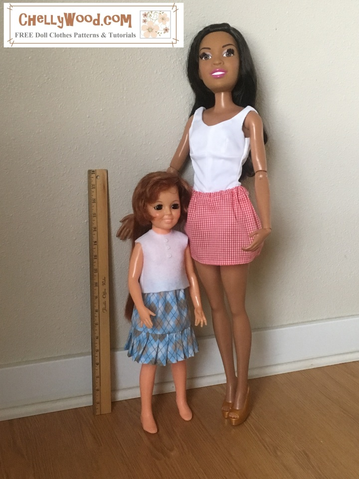 The image shows a 28 inch Best Fashion Friend Barbie standing next to a Crissy doll (made by Ideal Toy Corporation). They stand next to a measurement tool. The two dolls wear handmade doll clothes which use patterns from ChellyWood.com (a website for free printable doll clothes patterns). This image accompanies a blog post about the sewing measurements for Crissy dolls.