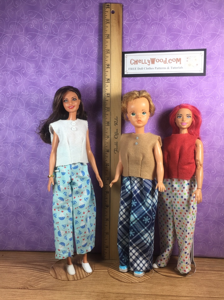 The image shows a Tammy doll standing next to a ruler. Beside her are a Curvy Barbie and a Tall Barbie. The blog post offers complete sewing measurements for making doll clothes for the Tammy doll from Ideal Toy Company.