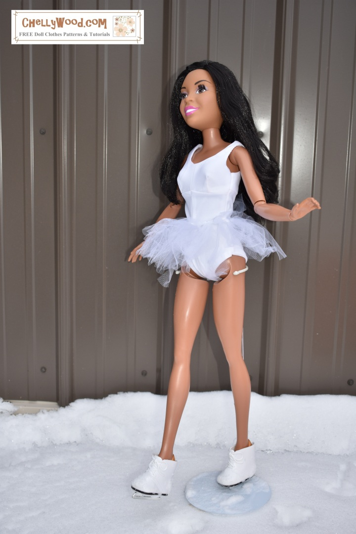 ChellyWood.com offers free printable sewing patterns for dolls of many shapes and sizes. This image shows the 28-inch best fashion friend Barbie doll wearing a pretty white sleeveless leotard with a tutu and ice skates. The pattern that was used to make this outfit is free at ChellyWood.com. The pattern could also be used to sew a swimsuit to fit the 28 inch Barbie or other 28 inch fashion dolls.