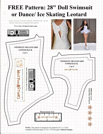 """Please visit ChellyWood.com for FREE printable sewing patterns to fit dolls of many shapes and sizes. The image shows the free pattern for a swimsuit, dance leotard, ballerina tutu, or ice skater's leotard designed to fit 28 inch dolls like the Best Fashion Friend Barbie dolls. This printable pdf pattern includes a """"creative commons attribution"""" symbol, which means you're free to use the pattern as long as you tell people where this pattern came from."""