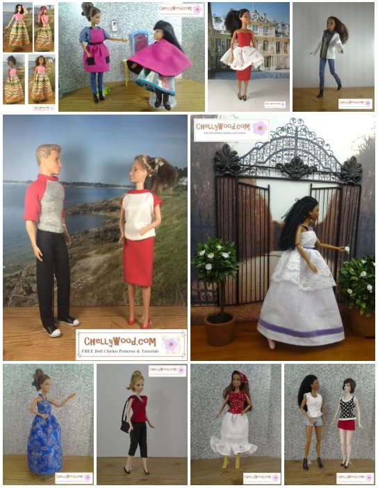 Please visit ChellyWood.com for free printable sewing patterns for dolls of many shapes and sizes. The image shows modern Barbie dolls and MTM (made-to-move) Barbies modeling a variety of handmade doll clothes including a sun dress with a maxi skirt, a hairdresser's apron, a hairdresser's smock, a Valentine's day pencil skirt with heart-patterned outer gathered skirt, a winter coat and pants set, a raglan sleeve Tee shirt, a prom dress or quinceanera dress, a ball gown, a sleeveless summer shirt, capri pants, a skirt with ruffle, and shorts. These free patterns and many more can be found at ChellyWood.com all all of these patterns for Barbie dolls are free and downloadable. Some are offered as PDF downloads as well.