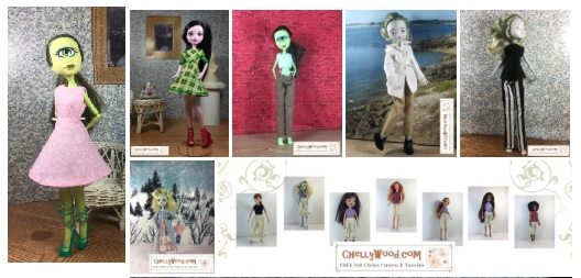 Please visit ChellyWood.com for FREE printable sewing patterns to fit dolls of many shapes and sizes. The image shows seven different outfits you can make for your Monster High dolls, using the patterns Chelly Wood provides on her website. These patterns are free and printable. They include a pink sleeveless dress, a kelly green plaid puff-sleeve dress with cuffs, a pair of pants with a crop top, a Colonial shirt and pants with Colonial shoes, a sleeveless shirt with pants, a fancy dress, and a pair of bloomers. More patterns will be added to ChellyWood.com as time goes by, but as of this post, these patterns are all available on ChellyWood.com for free and they are downloadable with free tutorial videos showing how to sew these outfits for your Monster High dolls.