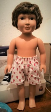 My Life male doll by Dorriebelle modeling shorts made using 18 inch doll shorts pattern