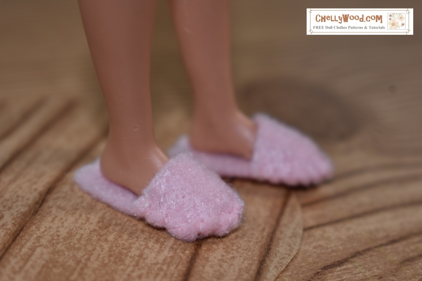 The image shows Mattel's Skipper doll's feet fitting snugly into a pair of slippers made of felt. The pattern for sewing a pair of these easy-to-make felt slippers is found at ChellyWood.com