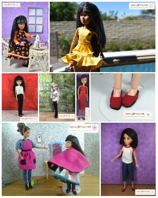 "Please visit ChellyWood.com for free printable sewing patterns for dolls of many shapes and sizes. This image shows a gallery of photos. In each photo a Spin Master Liv Doll models handmade clothes. There's a long-sleeved dress made of candy corn print, a yellow summer top with matching ruffled short skirt, a pair of pants with a long-sleeved shirt, a pair of pants with a short-sleeved shirt, a pencil-skirt dress, a pair of Liv Doll sized shoes, an apron with pockets, a hairdresser's smock, a raglan sleeved tee shirt, and a pair of capri pants. The watermark on all of these images says ""ChellyWood.com: free patterns and tutorials"" indicating that you can find free printable sewing patterns for all of these doll clothes at the website ChellyWood.com"