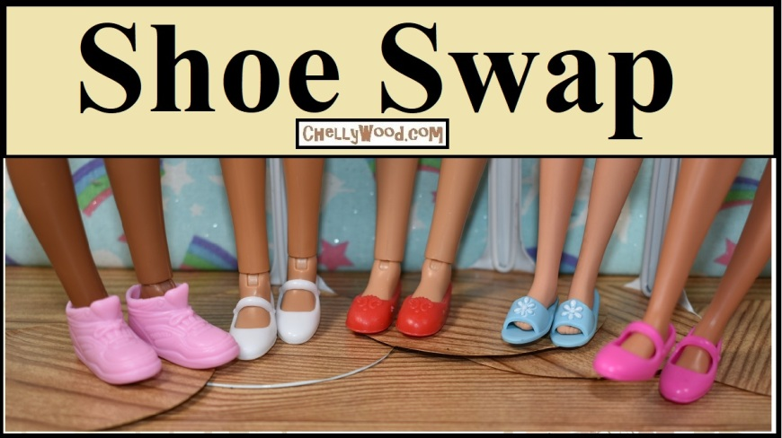 "This video header shows three Liv dolls, a vintage Francie, and a Tall Barbie wearing shoes called ""Little Extras"" which were designed to fit Posable Barbies from the late 1990's and early 2000's. The video offers a shoe swap hack showing doll clothes designer Chelly Wood trying the ""Little Extras"" shoes on twelve different dolls from different doll makers. This shoe hack /shoe swap is supposed to help people decide whether or not to buy ""Little Extras"" shoes for their dolls. It also shows how this package of shoes can really benefit your collection."