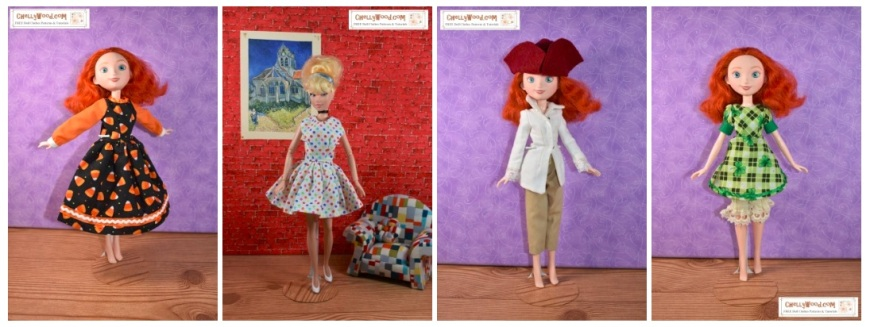 Please visit ChellyWood.com for FREE printable sewing patterns to fit dolls of many shapes and sizes. Image shows 11 to 12 inch Disney Princess dolls modeling four different outfits including a pair of pants, a Colonial shirt, a tricorne hat, a party dress, a Halloween-candy corn long sleeve dress with collar, and an A-line dress with puff sleeves and cuffs (the latter uses St. Patrick's Day green plaid shamrock fabric). The watermark explains that free printable sewing patterns are available to download at ChellyWood.com where these images originated.